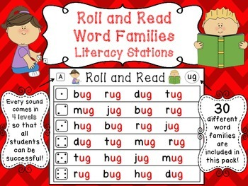 Roll and Read Word Families (120 Differentiated Ready to Go Literacy Centers)