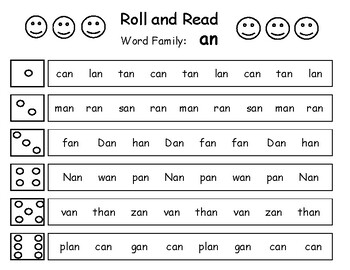 Roll and Read Word Family