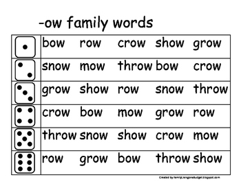 Roll and Read Word Family Fluency beginner word families O-U