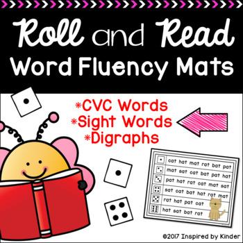 Roll and Read Word Fluency Mats (CVC Words, Digraphs, Fry