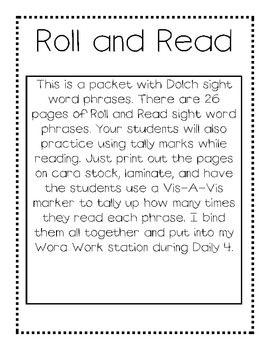 Roll and Read Word Phrases