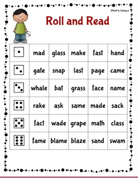 Roll and Read - Words Their Way Within Word Sorts 7-11 (cvc vs. cvce)