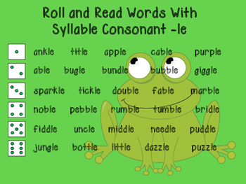 Roll and Read Words with Syllable Consonant -le