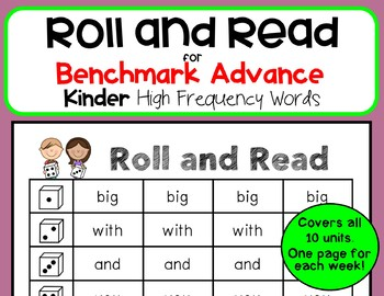 Roll and Read for Benchmark Advance Kindergarten High Frequency Words