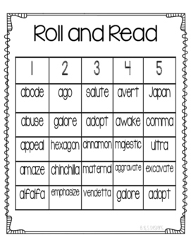 Roll and Read schwa a