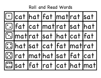 Roll and Read short a CVC Words and Sentences
