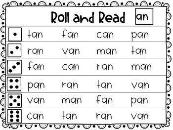 Roll and Read short a word families