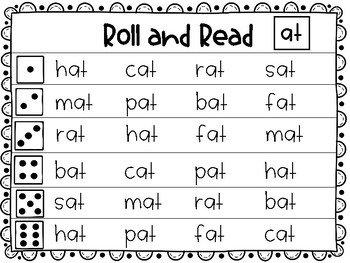 """Roll and Read Short """"a"""" Word Families"""