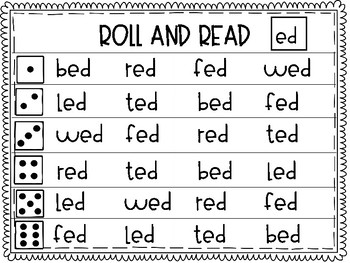 """Roll and Read short """"e"""" Word Families"""