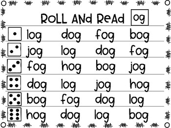 Roll and Read short o word families