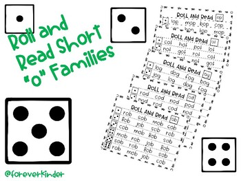 "Roll and Read Shot ""o"" Word Families"