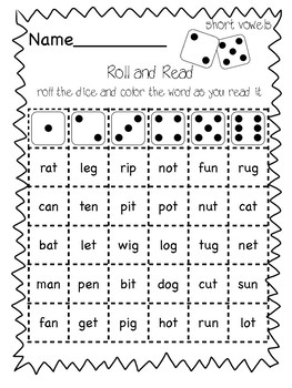 Roll and Read (short vowels, long vowels, and blends)