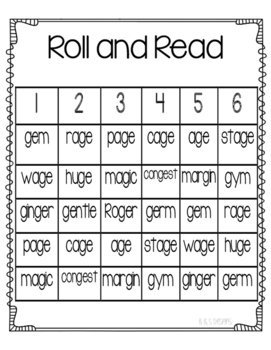 Roll and Read soft g