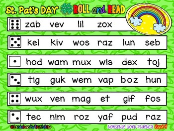 St. Patrick's Day Nonsense Word Fluency RTI Resource Roll and Read