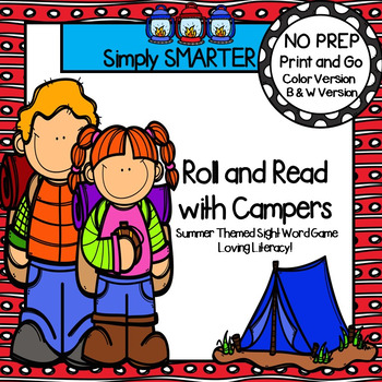 Roll and Read with Campers:  NO PREP Summer Themed Sight Words Game