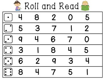 Kindergarten Morning Work Roll and Read Math and Literacy Centers