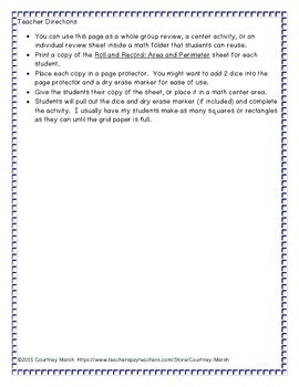 Roll and Record: Area and Perimeter Review Activity 3.MD.C.6 FREEBIE