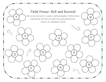 Roll and Record Differentiated Pack- 10 Addition Math Fact Games NO PREP!