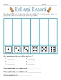 """""""Roll and Record"""" Practice with Bar Graphing and Dice Recognition"""