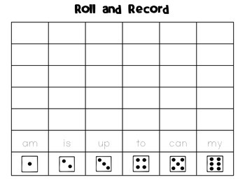 Roll and Record (Sight Word List A)