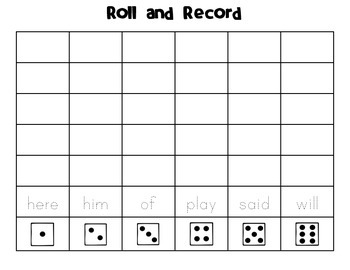 Roll and Record (Sight Word List C)