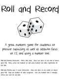 Roll and Record - a Subitizing Math Game