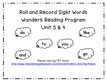 Kindergarten Wonders Reading Roll and Record sight words