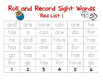 Roll and Records Sight Words Red List 1 (Reading Wonders)