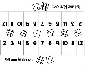 Roll and Remove  An addition game for sums to 12...Themes for the year!