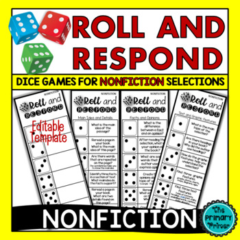 Roll and Respond Comprehension Dice Game - NONFICTION Edition