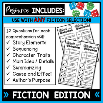 Roll and Respond Comprehension Dice Games - FICTION and Nonfiction Editions