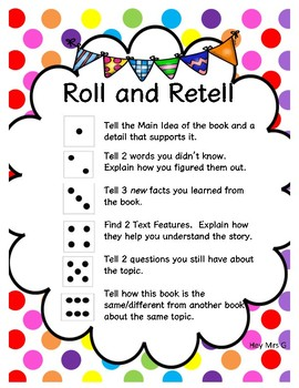 Roll and Retell Conversation Prompts for Nonfiction/Informational