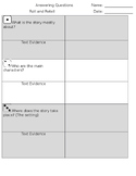Roll and Retell Graphic Organizer WITH Text Evidence
