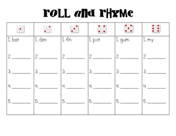 Roll and Rhyme: A Common Core Literacy Center