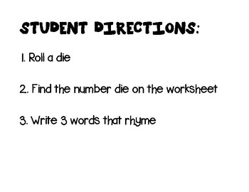 Roll and Rhyme- Literacy Center Activity (Special Education, Elementary, Autism)