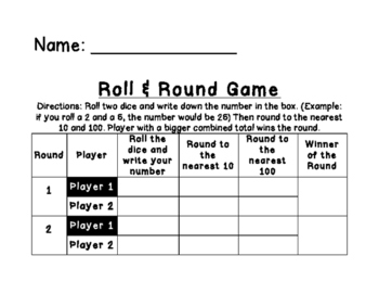 Roll and Round (10's and 100's)