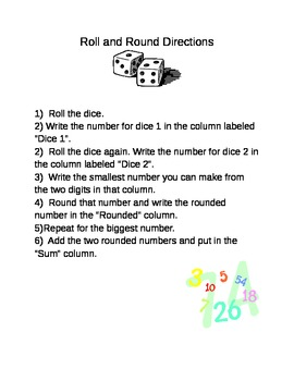 Roll and Round Math Centers and Homework