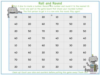 Roll and Round  Robots - Rounding to 10, 100, 1000
