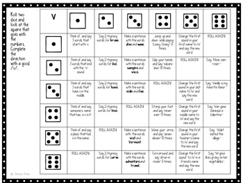 """Roll and Say Articulation Dice for /v/ and """"th, sh, ch"""" sounds-Print or No Print"""