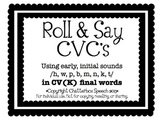 Roll and Say CVC's: Using early, initial sounds in /K/ final words