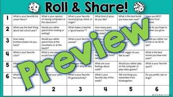 Roll and Share -- A Back to School Icebreaker Activity