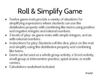 Roll and Simplify Game