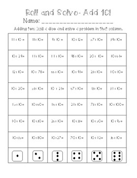 Roll and Solve- Adding Ten