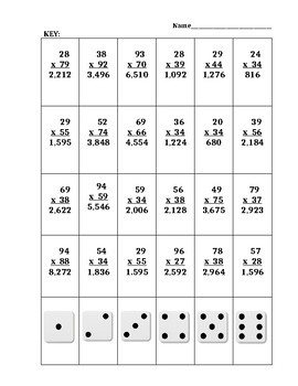 Roll and Solve Multiplicaton 2 digit by 2 digit