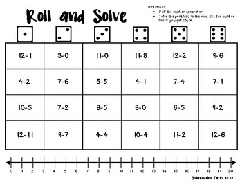 Roll and Solve: Subtraction Facts 1-20 by Karina Jones | TpT
