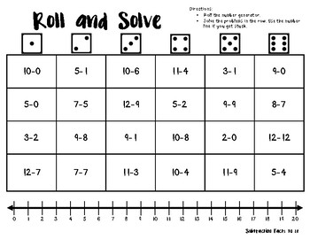 Roll and Solve: Subtraction Facts 1-20