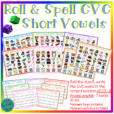 Roll and Spell CVC Short Vowels A E I O U vowels