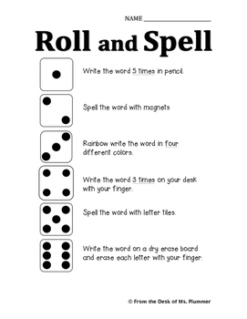 Roll and Spell Sight Word