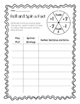 Roll and Spin a Fact - Practicing Basic Facts (Addition /  Subtraction)