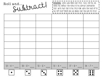 Roll and Subtract Dice Game